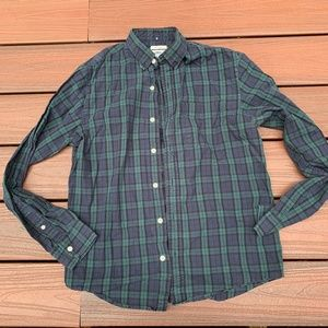 blue & green plaid button down